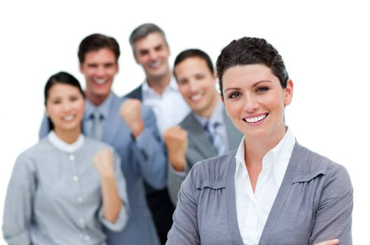 Positive business partners punching the air in celebration against a white background
