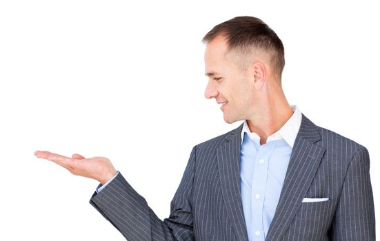 Positive businessman presenting