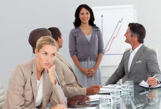 woman bored at a presentation