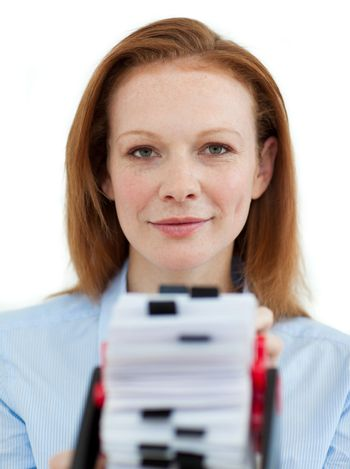 Businesswoman holding her business card holder