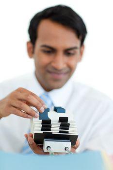 Businessman holding a business card holder