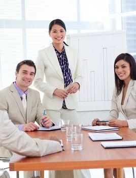 Positive businesswoman doing a presentation
