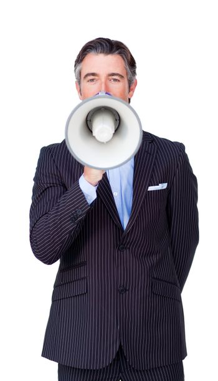 Confident businessman rowing through a megaphone