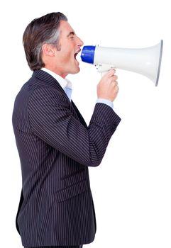 Attractive Businessman rowing through a megaphone