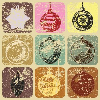 Seamless doodle hand drawn christmas baubles