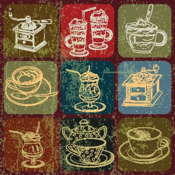 Tea and coffee stuff banner set with Grunge Effect
