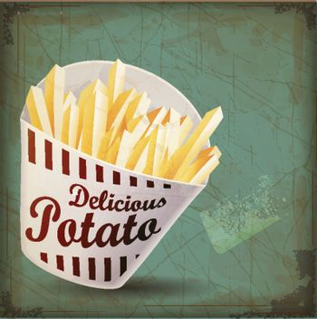 vintage French fries whit vintage with Grunge Effect