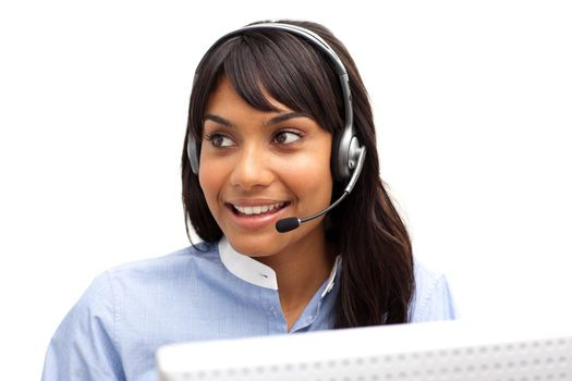 Ethnic businesswoman with headset on