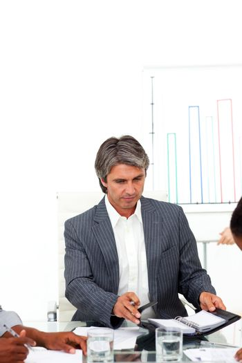 Concentrated businessman in a meeting