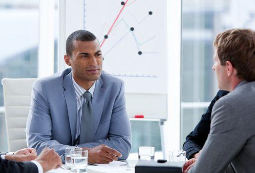 Ambitious businessmen having a brainstorming