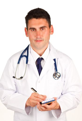 Doctor writing  a diagnosis