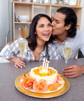 Affectionate couple celebrating