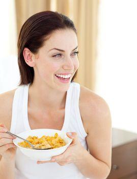 Positive woman having breakfast