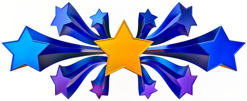 a set of eleven shiny gold and blue stars in motion for advertise