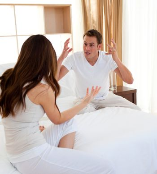 Furious couple having an argument