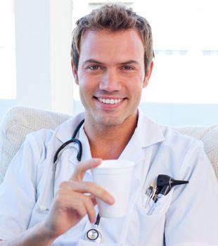 Positive doctor having a break