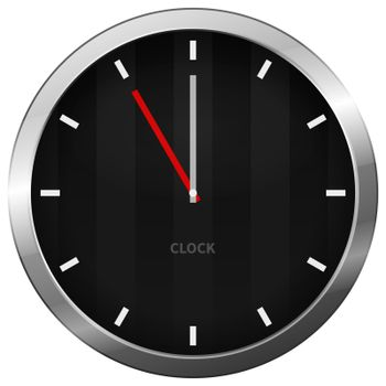 Dark chrome clock with five minutes to twelve