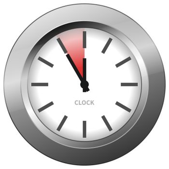 Light chrome clock with five minutes to twelve