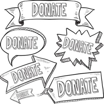 Donate banners, labels, and tags sketch