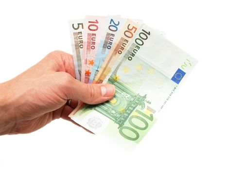 Euro currency bank notes, handed over, isolated towards white background