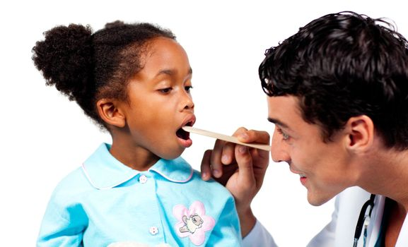 Confident doctor checking his patient's throat