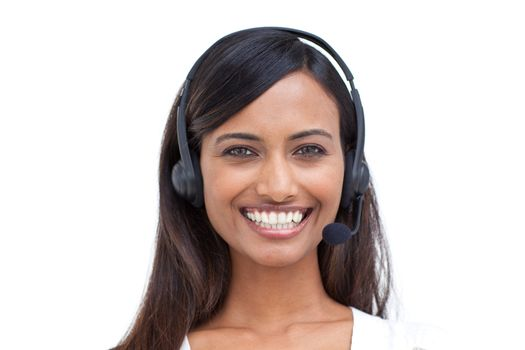 Portrait of a beautiful ethnic businesswoman with a headset on