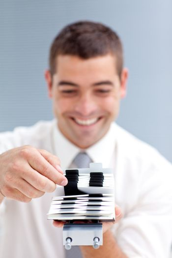 Business-card holder with a businessman