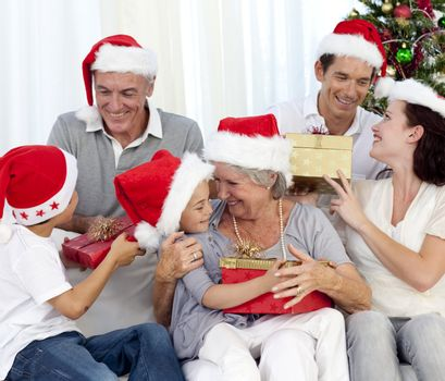 Laughing family at Christmas time
