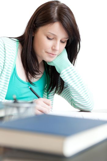 Concentrated woman studying