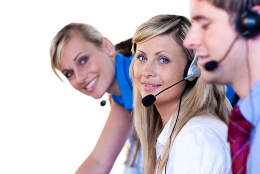 Young manager with her team in a call center