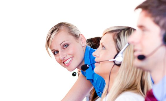 Team in a call center with focus on manager