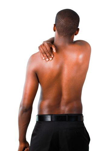 Muscular man with backpain