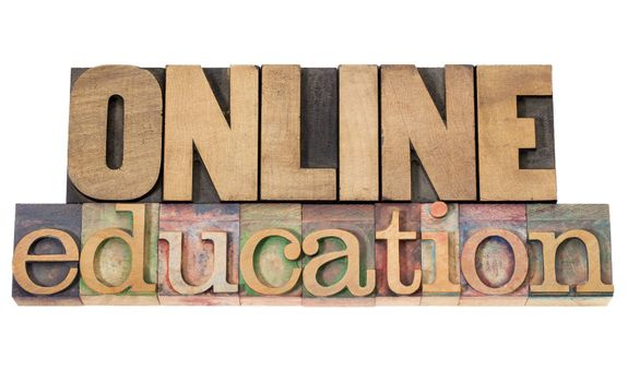 online education - isolated text in vintage letterpress wood type
