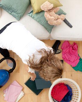Blond woman doing housework