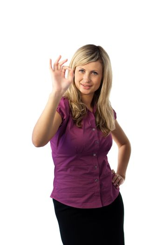 Woman showing an okay gesture
