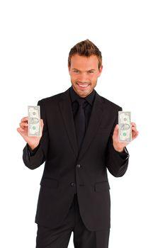 Successful businessman holding money