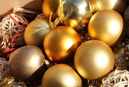 Mix of beautiful golden Christmas toys