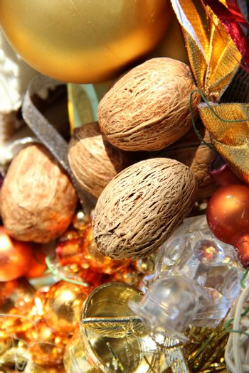 Big mix of Christmas decorations and nuts