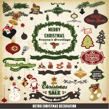 retro and vintage Christmas decoration collection