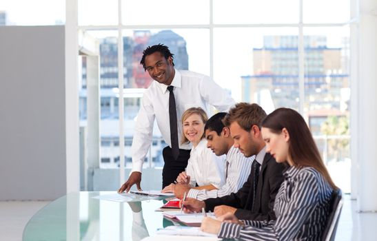 Afro-American leadership working with his team