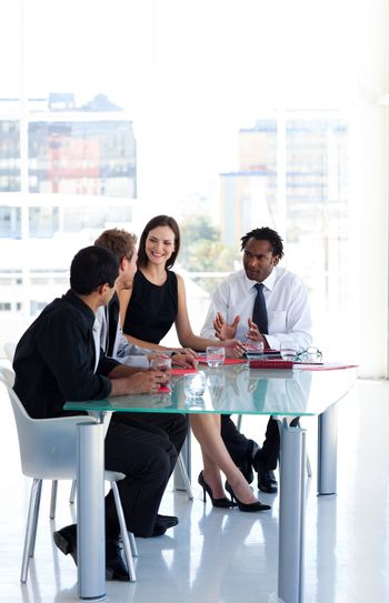 Business team working together in office with copy-space