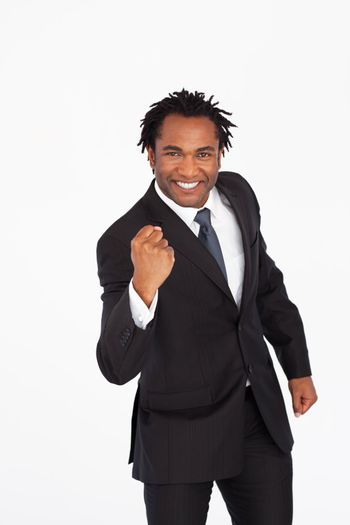 Happy businessman with fist