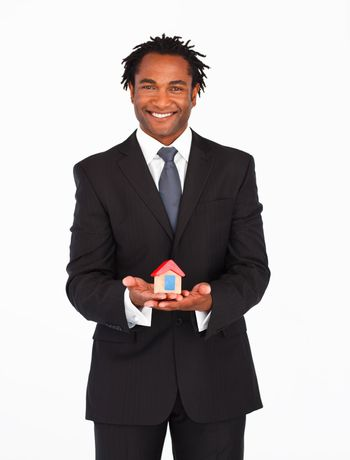 Afro-american businessman presenting housing solution