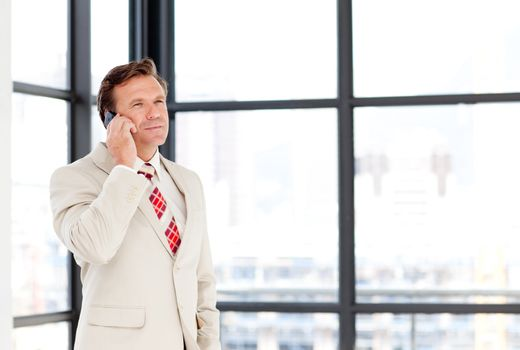 Leadership speaking on a mobile phone with copy-space