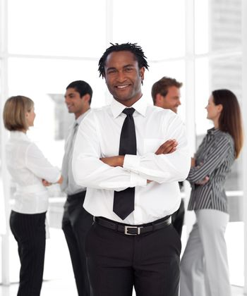 Business leader with his team