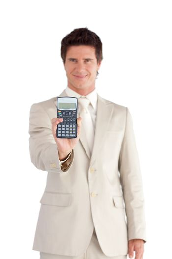 Good-looking businessman holding a calculator