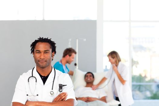 Serious doctor looking at the camera with copy-space
