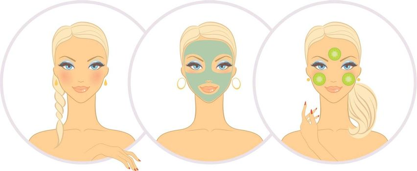 Vector illustration of Woman with cosmetic mask