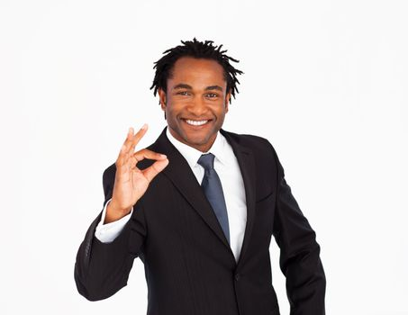 Handsome businessman with okay sign