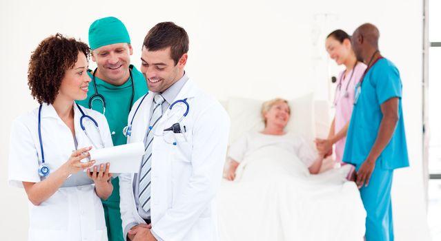 United doctors examining a patient